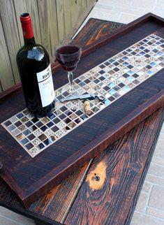 Ottoman Tray. Rectangular Serving Tray. Mosaic Tile Serving