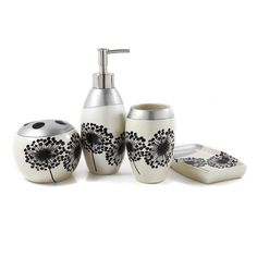 Dandelion Decal 4 Piece Bathroom Accessories Set. More >> http://www.lynnwoodplace.com/dandelion-decal-4-piece-bathroom-accessories-set