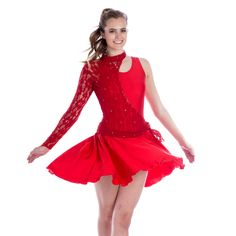 Lyrical Dance Costume.  Sleeveless tank styled, full skirted dance dress with asymmeterical single long sleeved lace over-bodice.