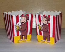 Curious George Popcorn Box - Curious George Birthday Party - Curious George Favor Bag