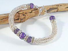 Viking Knit Gemstone Bracelet  Viking Weave by BeauBellaJewellery #Vikings #bracelet #gemstone