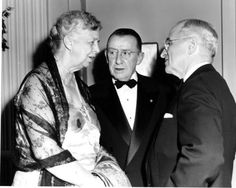 Former President Harry S. Truman with former First Lady Eleanor Roosevelt at a banquet in honor of Mr. Truman's 70th birthday, May 8, 1954