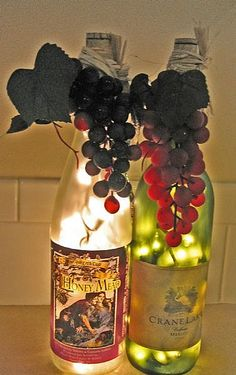 Wine bottle lights decor. Doing this but putting the bottles on top of our kitchen cabinets for decor.