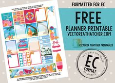 Free Printable Beach or Bust Planner Stickers from Victoria Thatcher