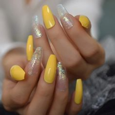 #AcrylicNailsForSummer Summer Acrylic Nails, Acrylic Nail Art, Cute Nails, My Nails, American Nails, Yellow Nails, Halloween Nail Art, Nail Decorations, Nail Art Hacks