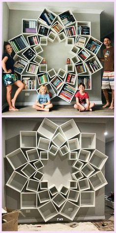 DIY Mandala Bookshelf by Jessica and Sinclair - # Book .-DIY Mandala Bücherregal von Jessica und Sinclair – # Bücherregal … – DIY Mandala Bookshelf by Jessica and Sinclair – # Bookshelf … - Diy Casa, Home Organization, Organizing Ideas, Home Interior Design, Design For Home, Diy Interior, Interior Livingroom, Home Projects, Diy Furniture