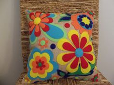 Burlap Flowers - Felt Appliqued Pillow