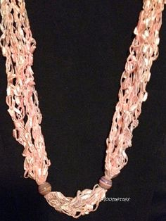 Crochet Summer Necklace Pastel Pink Bead by MoomettesCrochet, $18.00