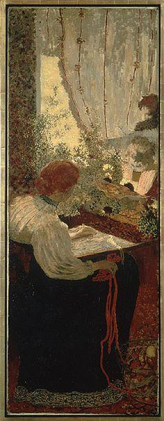 """Edouard Vuillard French Painter 1868 - 1940 """"The Tapestry"""" from """"The Album"""" 1895 Edouard Vuillard, Paul Gauguin, Pierre Bonnard, Post Impressionism, Paintings I Love, Museum Of Modern Art, Art Museum, Oeuvre D'art, Monet"""