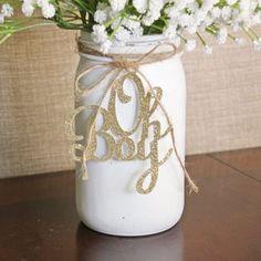 Mason Jar Tags, Glitter Mason Jars, Elephant Centerpieces, Baby Boy Centerpieces, Centerpiece Decorations, Wedding Decorations, Baby Glitter, Baby Shower Giraffe, 1. Tag