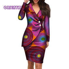 Autumn African Dresses for Women Fashion Office Style V neck Long Sleeve Midi Dress Bazin Riche African Print Clothing - AliExpress Short African Dresses, Latest African Fashion Dresses, African Print Dresses, African Dress Styles, African Print Clothing, African Print Fashion, V Neck Midi Dress, The Dress, Style Africain