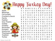 Hard Thanksgiving Word Search Printable for Kids