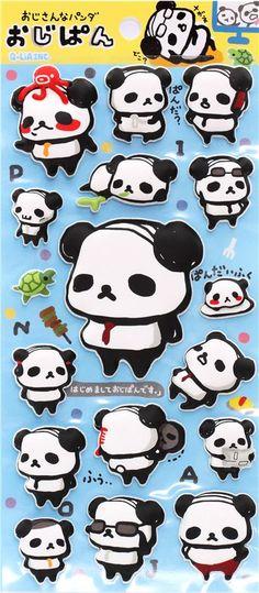 pegatinas blandas 3D de Q-Lia with panda bear with newspaper, mirror, turtle and octopus etc.