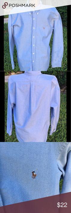 Ralph Lauren Polo Custom Fit Dress Shirt Ralph Lauren  Blue Custom Fit Dress Shirt. New without tags. Yolk back, with barrel cut cuffs. Button down collar. Shirts Dress Shirts