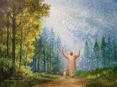 painting of jesus christ with arms outstreatched looking toward heaven lamb by his side trees rays of light dirt path Images Of Christ, Pictures Of Christ, Bible Pictures, Paintings Of Christ, Jesus Painting, Lds Art, Bible Art, Jesus Art, God Jesus