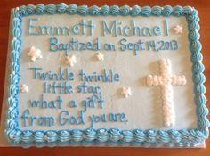 Ideas For Baby Boy Baptism Cake Desserts Baptism Reception, Baptism Party, Baptism Ideas, Baptism Sheet Cake, Baptism Cakes, Dedication Cake, Cake Quotes, Cake Sayings, Slab Cake