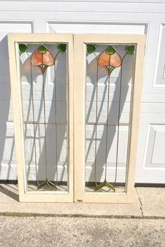 Pair of Arts and Crafts Stained Glass Windows   eBay