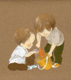 Pinzellades al món: Il·lustracions d'Achiki: el plaer del joc infantil Children, Kids, Boy Or Girl, Decoupage, Illustration Art, Illustrations, Japan, Drawings, Blog
