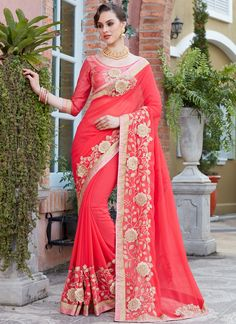Buy Red Color Georgette Fabric Saree Online