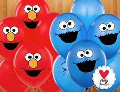 Elmo and Cookie Moster Inspired Stickers for by HeartPartyInvites, $2.99