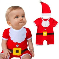 New Arrival Christmas Festival Baby Kids Toddler Costume Baby Santa Claus Costume Christmas Outfits Rompers with Hat