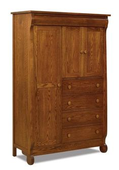 Amish Old Classic Sleigh Chifforobe Elegant and charming, this Old Classic Sleigh Chifforobe offers lots of storage. Includes adjustable shelves and full extension drawers. It's Amish made, so you can customize it by choosing from a variety of wood, stain and hardware options. #chifforobe #wardrobe #armoire #bedroomstorage #bedroomchests
