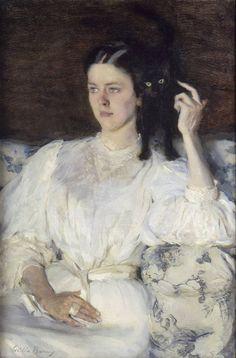 """""""Sita et Sarita - Jeune fille au chat"""" in 1893-94 by Cecilia Beaux. Oil on canvas. Musée d'Orsay, Paris."""