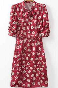 Red Short Sleeve Daisy Print Slim Dress 20.00