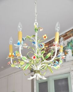 I have a bit of a chandelier obsession. In fact, it has directly led to other obsessions (okay, okay, projects planned but not acco… Shabby Chic Chandelier, Shabby Chic Dining, Floral Chandelier, Shabby Chic Pink, Vintage Chandelier, Shabby Chic Homes, Outdoor Chandelier, Vintage Lighting, Lustre Metal