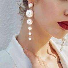 Women New Fashion Charm Big Simulated Pearl Long Drop Earrings Wedding — GoLive Shopping Network Wedding Earrings Drop, Pearl Drop Earrings, Crystal Earrings, Silver Earrings, Silver Bracelets, Sea Glass Jewelry, Pearl Jewelry, Bridal Jewelry, Fashion Jewelry