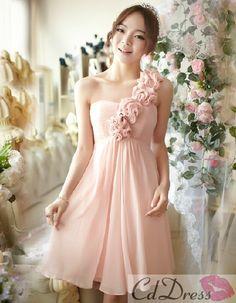 Empire One-Shoulder Knee-length Chiffon Bridesmaid Dress