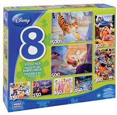 This puzzle pack included 8 Disney themed puzzles in one box! Released October 2012. Featuring: Winnie the Pooh - 500pc Tinkerbell - 500pc Repunzel - 300pc Mickey Mouse and Friends - 300pc Goofy, Mickey and Donald - 150pc Cars - 150pc Disney Princesses - 150pc Toy Story - 150pc