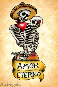 Dia de Muertos by:Alxbngala by Alejandra L Manriquez, via Behance Caveira Mexicana Tattoo, Desenhos Old School, Los Muertos Tattoo, Sketch Manga, Man Sketch, Day Of The Dead Artwork, Sugar Skull Art, Sugar Skulls, Skeleton Art