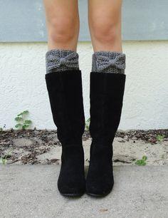 Heather Gray Bow Boot Cuffs, Crocheted, Handmade Womens Accessory, Women's Size SMALLor MEDIUM