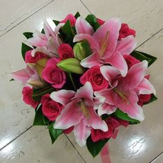 Asiatic Lily Wedding Bouquet pink and orange | Flowers - Iris Florist Sydney Flower Delivery