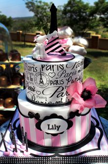 Paris inspired cake, complete with Eiffel tower, french poodle pink wafer paper flower and customized edible paper print on top tier Paris Birthday Cakes, Paris Themed Cakes, Paris Themed Birthday Party, Paris Cakes, Beautiful Cakes, Amazing Cakes, Bolo Paris, Eiffel Tower Cake, Parisian Party