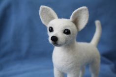 White Chihuahua.Needle Felted Chihuahua.Custom Made Dog.Pet Portrait.Soft Sculpture.Pet.Realistic felted animal.Made to order. by HandMadeArtForYou on Etsy