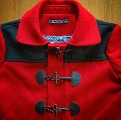 Cascade duffle jacket in red Pendleton wool. Pattern by Grainline Studio.