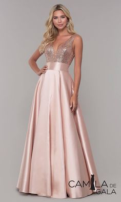 Women's Sequin Rose Gold Prom Dresses Long V-Neck Backless Bridesmaid Dresses Formal Evening Ball GownsShop sequin-bodice designer prom dresses at PromGirl. Sequin-bodice long formal dresses and Dave and Johnny satin dresses with open-back sequin bod Designer Prom Dresses, Pink Prom Dresses, Satin Dresses, Elegant Dresses, Beautiful Dresses, Formal Dresses, Long Dresses, Formal Prom, Homecoming Dresses