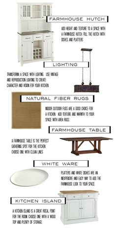 Create a farmhouse kitchen look using these essentials.