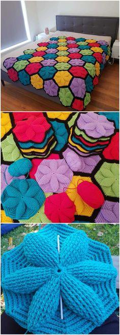 Crochet blanket patterns 390616967678991573 - Crochet Hexagon Blanket – Craft Ideas Source by BreathBeBecome Crochet Hexagon Blanket, Crochet Quilt, Afghan Crochet Patterns, Crochet Squares, Knitting Patterns, Crochet Blankets, Crochet Bedspread, Crochet Afghans, Granny Squares