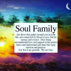 Everyone needs a soul family sometime during their physical journey in this life...