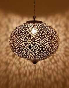 Round Moroccan Antique Brass Pendant Lamp