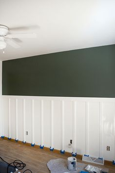 DIY Board and Batten with Shelf 2019 DIY Tutorial board and batten with a shelf. This would look AMAZING in the kitchen The post DIY Board and Batten with Shelf 2019 appeared first on Nursery Diy. Green Accent Walls, Dark Green Walls, Board And Batten, Dining Room Walls, Green Dining Room, Decoration Table, Buffets, My Living Room, Boy Room
