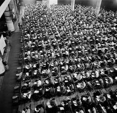 """@columbiaengineering - Good luck on your finals! In 1948, Stanley Kubrick, one of the most influential directors in cinematic history (2001: Space Odyssey, Clockwork Orange, The Shining) photographed Columbia University for Look Magazine. The caption for this image read, """"Mass examinations like these are common for Columbia's 31,000 students."""" And when the semester ends, don't miss the Kubrick photograph exhibition on now at the Museum of the City of New York — who preserves this preci.. Best University, Look Magazine, The Shining, Stanley Kubrick, Caption, Preserves, Finals, Columbia, Students"""