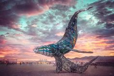 Burning Man's Space Whale, The Pier Group, Stained Glass and Steel : Art