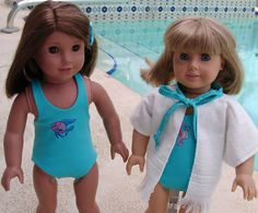 "Summer Time -- Swim Time.  Free PDF Swimsuit Pattern for your 18"" doll.  Easy to follow instructions."