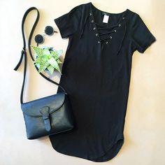 Black Lace-Up T-Shirt Dress