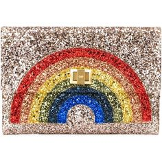 Anya Hindmarch Rainbow Glitter Clutch ($547) ❤ liked on Polyvore featuring bags, handbags, clutches, metallic, metallic purse, genuine leather handbags, colorful leather handbags, colorful purses and colorful clutches