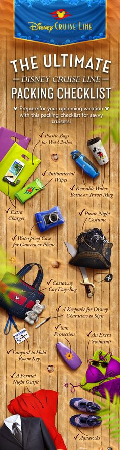 Prepare for your upcoming Disney cruise with this packing checklist for the savvy cruiser! Disney Wonder Cruise, Disney Cruise Line, Disney Magic Cruise, Disney Fantasy Cruise, Disney Tips, Disney Fun, Disney Stuff, Cruise Packing Ideas, Cruise Checklist
